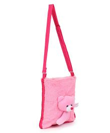 Infotech Resources Teddy Applique Soft Fur Shoulder Bag - Dark Pink