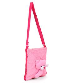 IR Shoulder Bag With Teddy Face Design - Pink