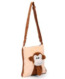 IR Shoulder Bag With Monkey Face Design - Cream Brown