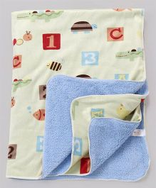 Babyhug Sherin & Poly Wool Blanket Numbers & Alphabet Print - Light Yellow Blue