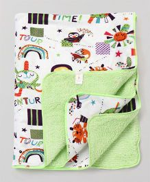 Babyhug Sherin & Poly Wool Blanket Multiprint - White Green