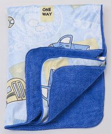 Babyhug Sherin & Poly Wool Blanket Car Print - Blue