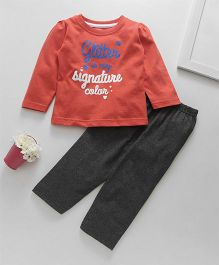 Babyhug Full Sleeves Tee With Leggings - Red