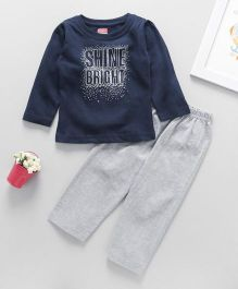 Babyhug Full Sleeves T-Shirt And Leggings Text Print - Navy Blue Grey
