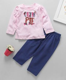Babyhug Full Sleeves T-Shirt And Leggings Text Print - Pink Blue