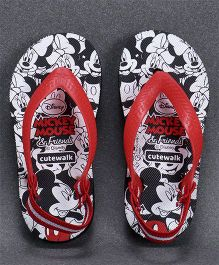 Cute Walk by Babyhug Flip Flops With Back Strap Mickey Mouse Print - White Red
