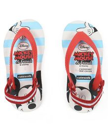 Cute Walk by Babyhug Flip Flops With Back Strap Mickey Mouse Print - Blue & White