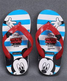 Cute Walk by Babyhug Flip Flops Mickey Mouse Print -  Blue White