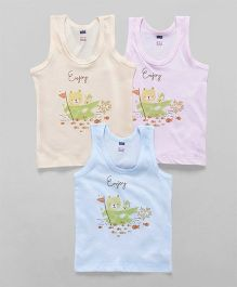 Simply Sleeveless Vest Teddy Print Pack of 3 - Blue Peach Pink