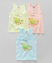 Simply Sleeveless Vest Teddy Print Pack of 3 - Blue Peach Yellow