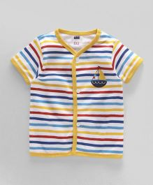 Simply Half Sleeves Vest Stripes & Boat Print - Yellow