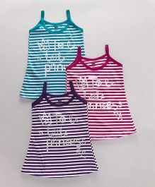 Simply Singlet Slips Stripes Print - Purple Pink Blue