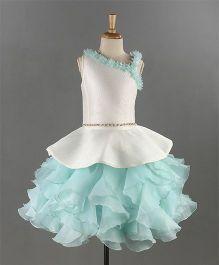 Bluebell Sleeveless Party Wear Layered Frock Floral Motifs - White Sea Green