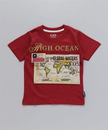 Fido Half Sleeves T-Shirt High Ocean Print - Maroon