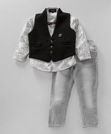 Robo Fry Full Sleeves Shirt Jeans With Waistcoat And Bow - White Black Grey