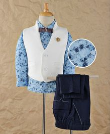 Robo Fry Full Sleeves Shirt Trouser With Waistcoat And Bow - White Sky & Navy Blue