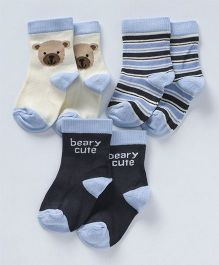 Mustang Quarter Length Socks Puppy Design Set of 3 - Blue Off White Grey