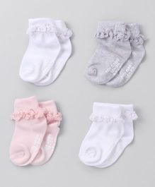 Fox Baby Ankle Length Socks Pack of 4 - Pink Grey White
