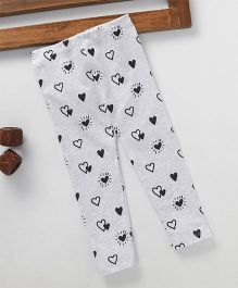 Fox Baby Full Length Heart Print Leggings - Grey