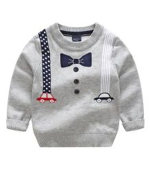 2 Footya Bow & Suspender Print Sweatshirt - Gray