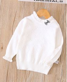 2 Footya Bow Applique Sweater - White
