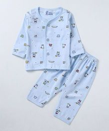 Pink Rabbit Full Sleeves Night Suit Printed - Blue
