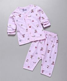 Pink Rabbit Full Sleeves Night Suit Printed - Pink