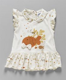 Simply Short Sleeves Collar Frock Fish Print - Off White