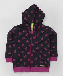 Tiny Bee Heart Print Full Sleeves Hooded Jacket - Black & Pink