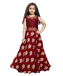 Betty By Tiny Kingdom Smart Printed Gown -Maroon
