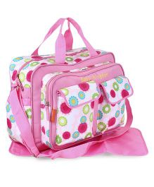 Diaper Bag With Changing Mat & Adjustable Shoulder Strap - Pink
