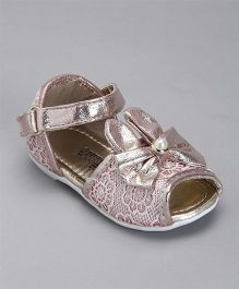 Cute Walk By Babyhug Party Wear Sandals Bow Applique - Light Pink
