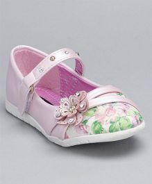 Cute Walk By Babyhug Party Wear Belly Shoes Floral Motifs - Pink