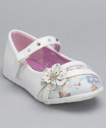 Cute Walk By Babyhug Party Wear Belly Shoes Floral Motifs -  White