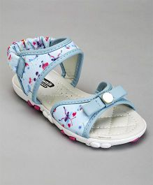 Cute Walk By Babyhug Party Wear Sandals Bow Applique - Blue