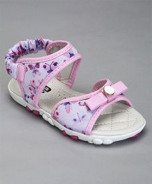 Cute Walk By Babyhug Party Wear Sandals Bow Applique - Pink Purple