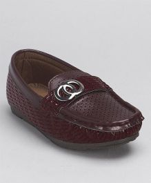 Cute Walk By Babyhug Party Wear Loafer Shoes - Maroon