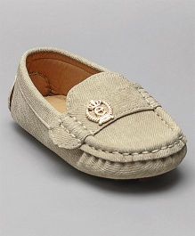 Cute Walk By Babyhug Loafers Charm Design - Cream