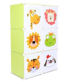 Multi Print 6 Compartment Storage Rack (Print May Vary) - Green