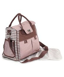 Check Diaper Bag With Changing Mat - Brown
