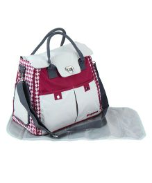 Diaper Bag With Changing Mat Checks Print - Maroon