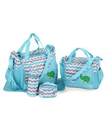 Multipiece Chevron Diaper Bag Set - Blue White