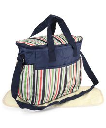 Diaper Bag With Changing Mat - White Navy Blue