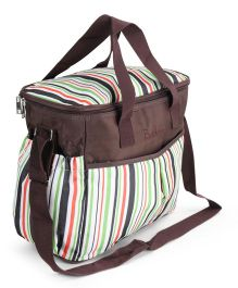 Diaper Bag With Changing Mat - White Brown