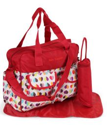 Diaper Bag With Changing Mat And Bottle Cover - Red White