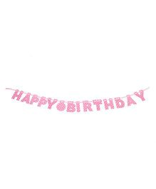 Karmallys Happy Birthday Die Cut Banner Polka Dots Print - Pink