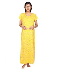 cd64ddce8fdbd Kriti Half Sleeves Maternity & Nursing Nighty Butterfly Print - Yellow.  Designed to fit beautifully over your bump and even post pregnancy, this  Kriti ...