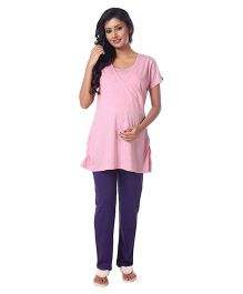 Kriti Half Sleeves Nursing Night Suit Set - Pink