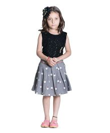 Kidofy Penguin Print Pleated Skirt - Grey