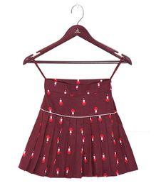 Kidofy Santa Print Low Rise Pleated Skirt - Maroon